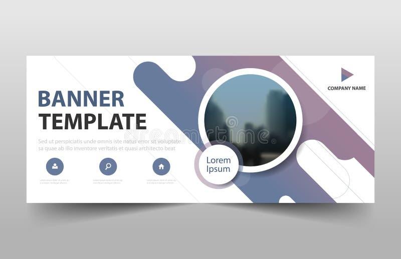 Purple curve business banner template, header cover for website design template. horizontal banner template stock illustration