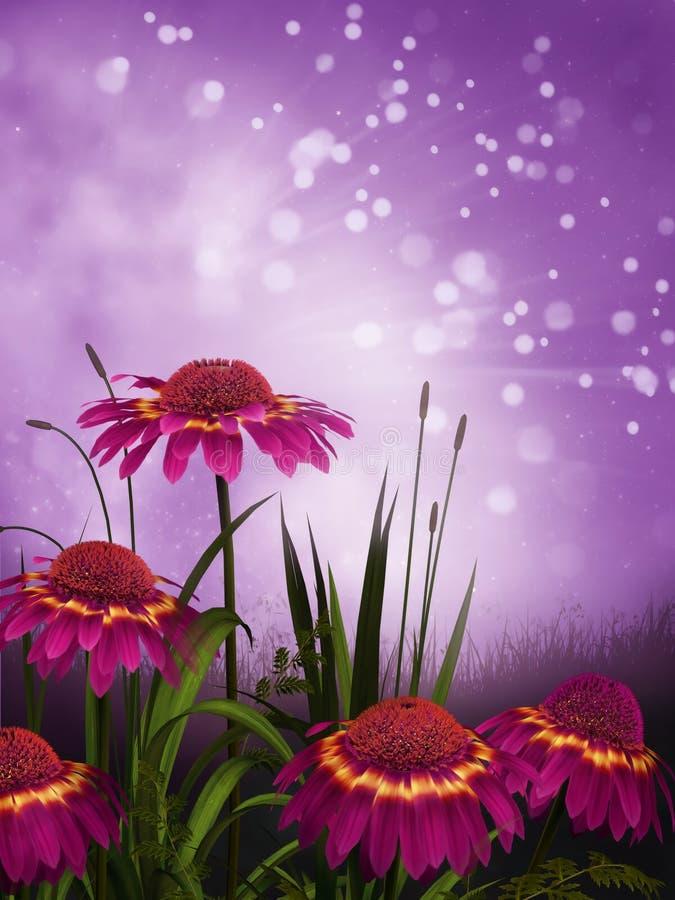 Purple daisies. Fantasy garden with purple daisies stock illustration