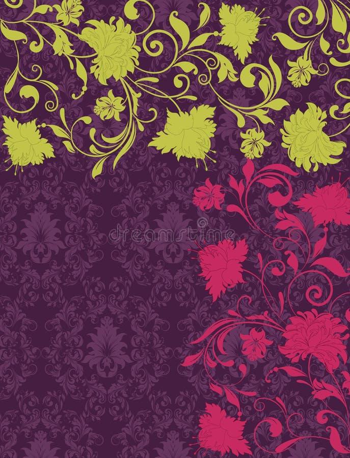 Purple damask invitation card