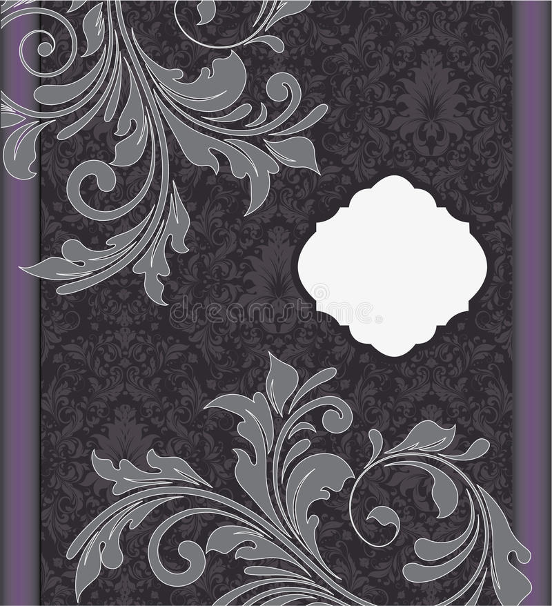 Purple damask wedding invitation card