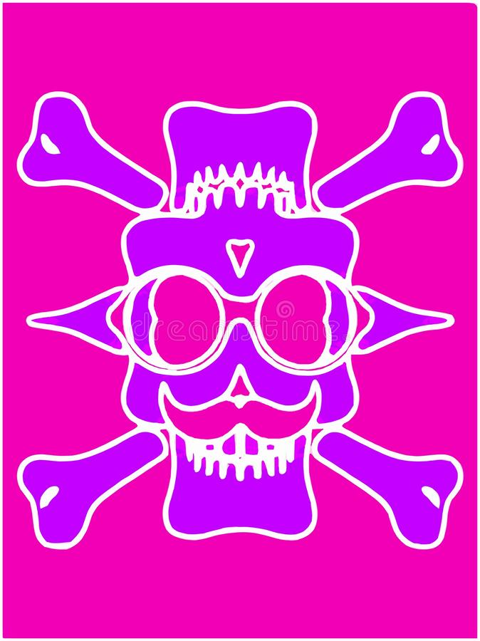 Purple devil skull with glasses and pink background. Purple devil skull with glasses and bones and pink background royalty free illustration