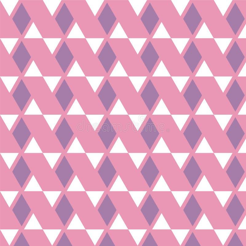 Purple diamond and white triangle pattern on pink background stock illustration