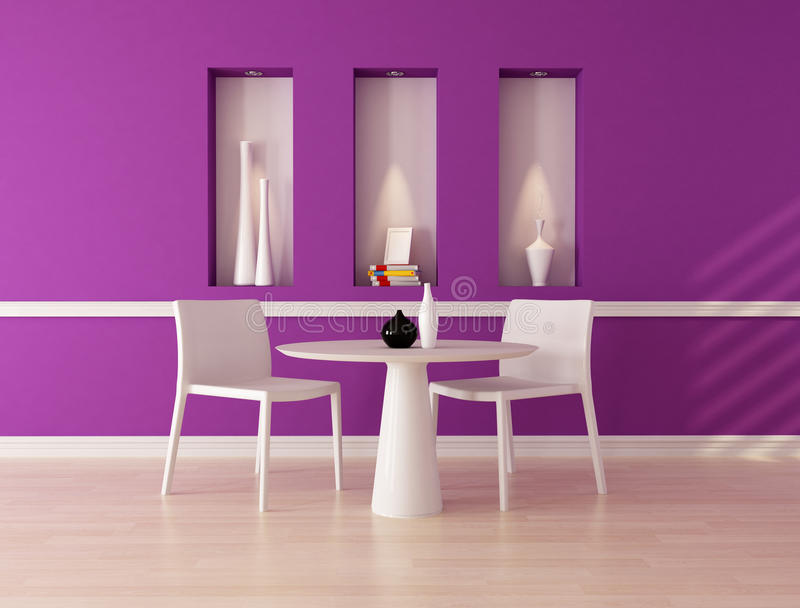 Purple dining room stock illustration. Illustration of purple ...