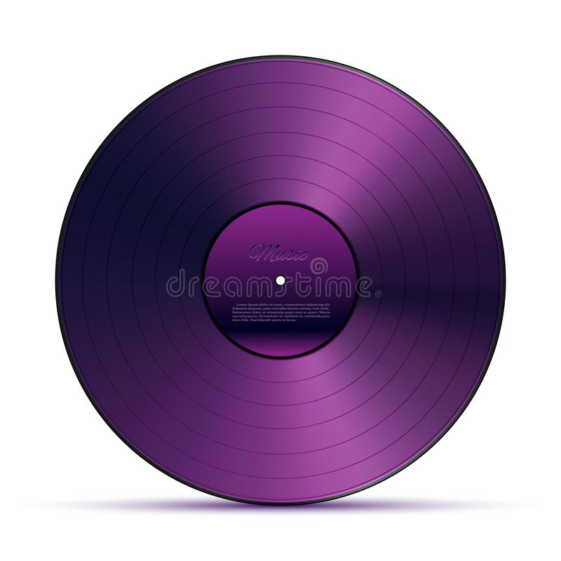 Purple DJ vinyl record plate for music player isolated on white background. Vector design element. royalty free illustration