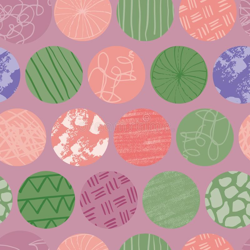 Purple Doodle circle seamless abstract  repeat pattern. Purple Doodle circle seamless abstract repeat pattern. Great for textile design or surface pattern design royalty free illustration