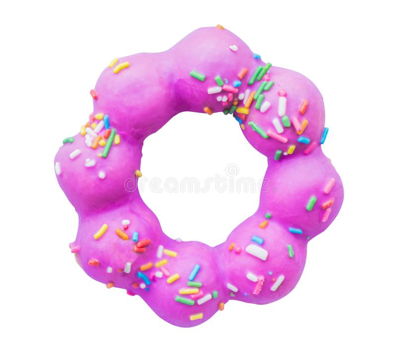 Purple doughnut sugar topping, colorful candy, snacks isolated white background. Top view royalty free stock image