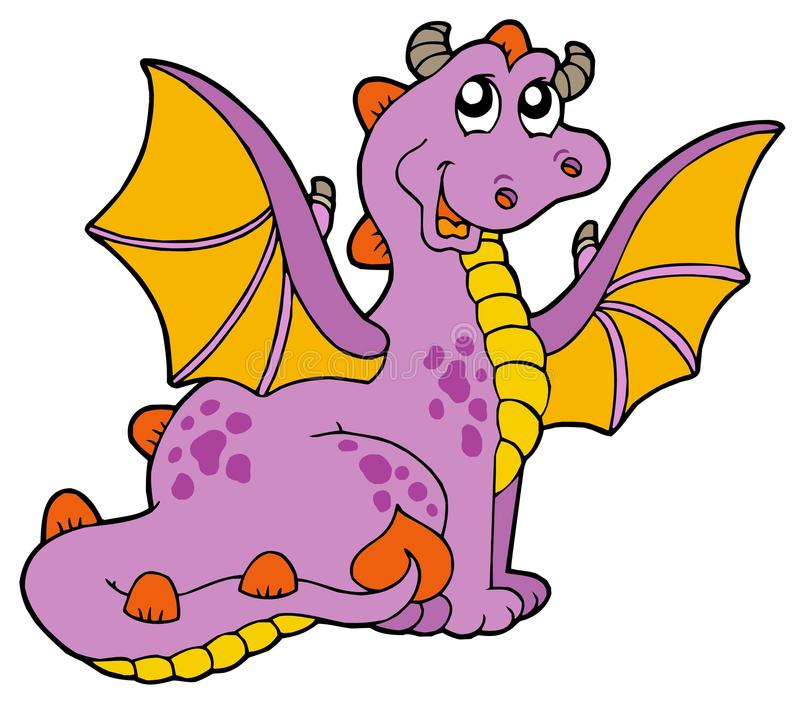 Purple dragon with big wings stock photo