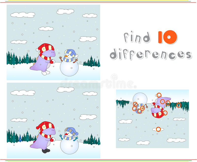 Purple dragon playing with snowman on the winter meadow. Educati royalty free illustration