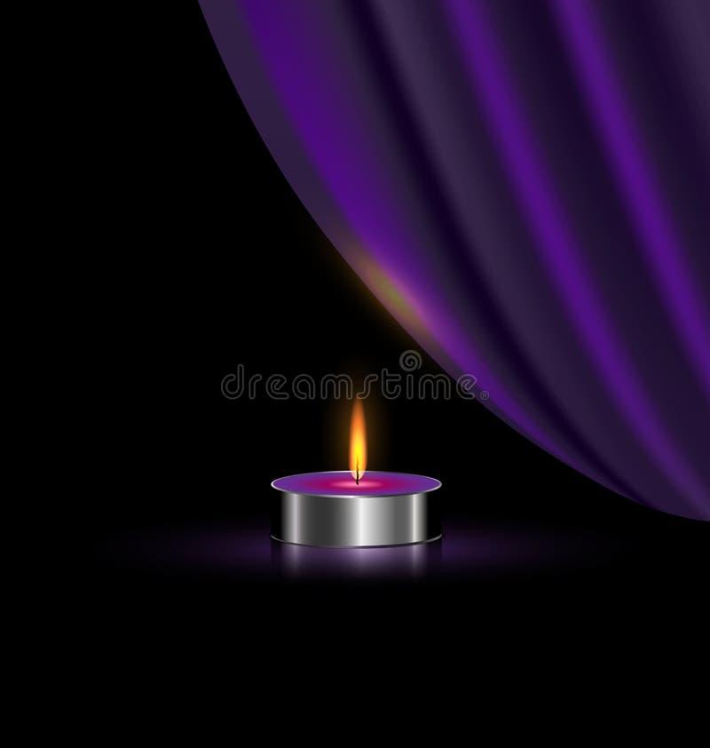 Purple drapeert en kleine kaars stock illustratie