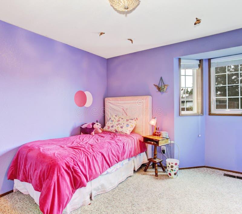 Bright Kids Room: Purple Dreamy Girl Bedroom. Stock Photo