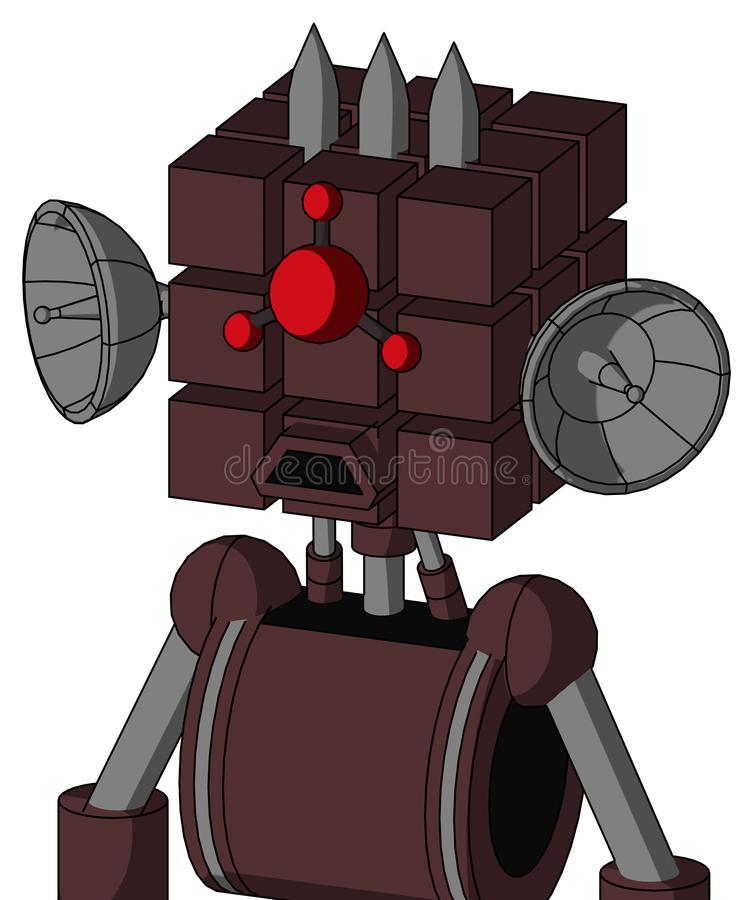 Purple Droid With Cube Head And Sad Mouth And Cyclops Compound Eyes And Three Spiked. Portrait style Purple Droid With Cube Head And Sad Mouth And Cyclops royalty free illustration