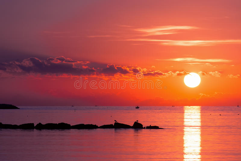 Purple dusk. Over Alghero sea, Sardinia royalty free stock photo