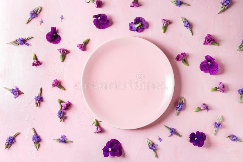 Purple edible flowers royalty free stock photo