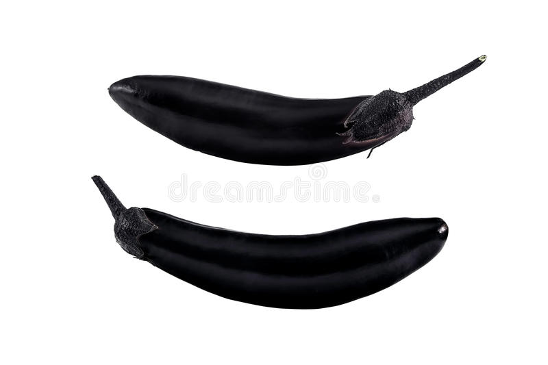 Purple eggplant with two sides. One purple eggplant, photographed from two sides stock photo