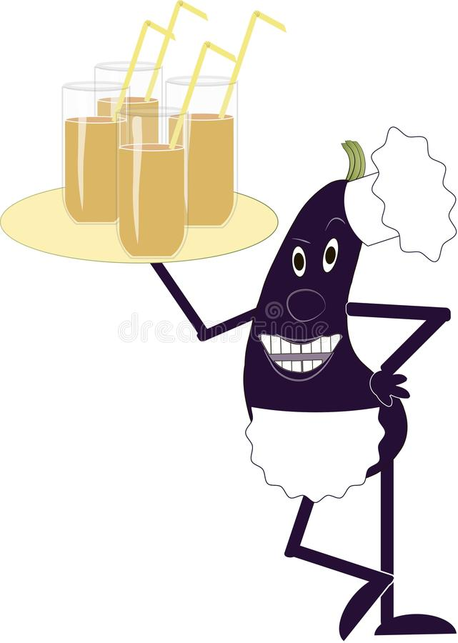 Purple eggplant in a white apron and chef hat holding a tray with glasses in hand on white background, shiny glasses of juice. Yellow straws the chef, the vector illustration