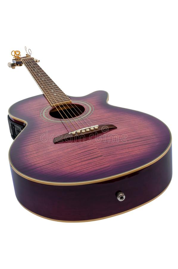 Purple electro acoustic guitar isolated royalty free stock photo