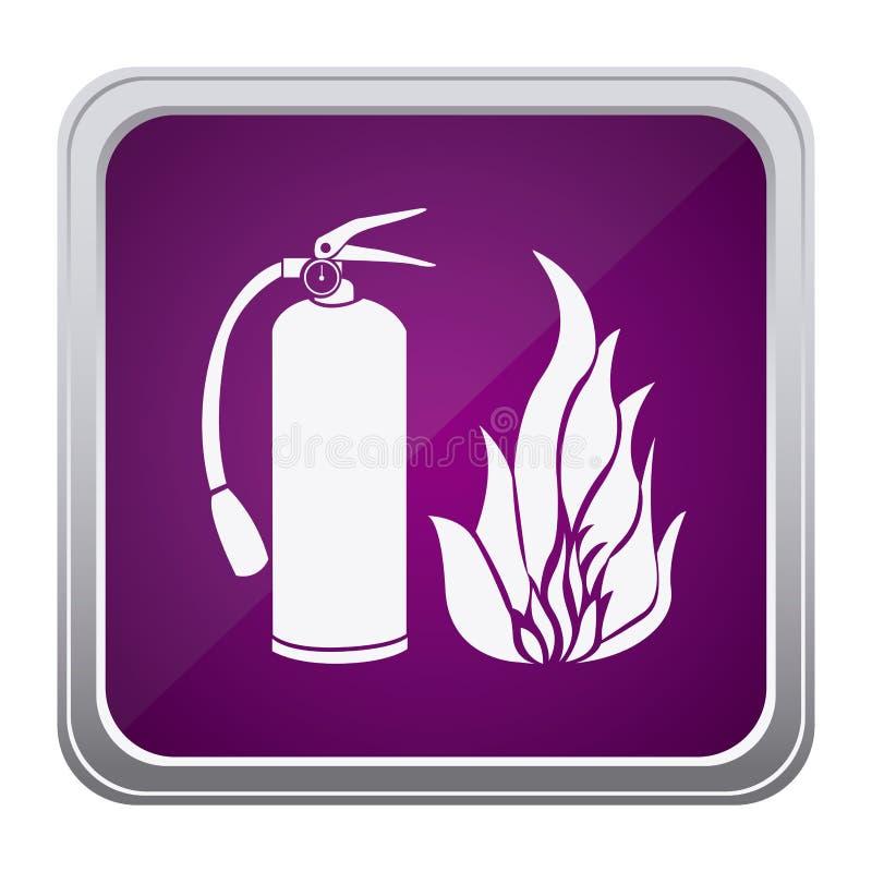 Purple emblem extinguisher with fire icon. Illustraction design vector illustration