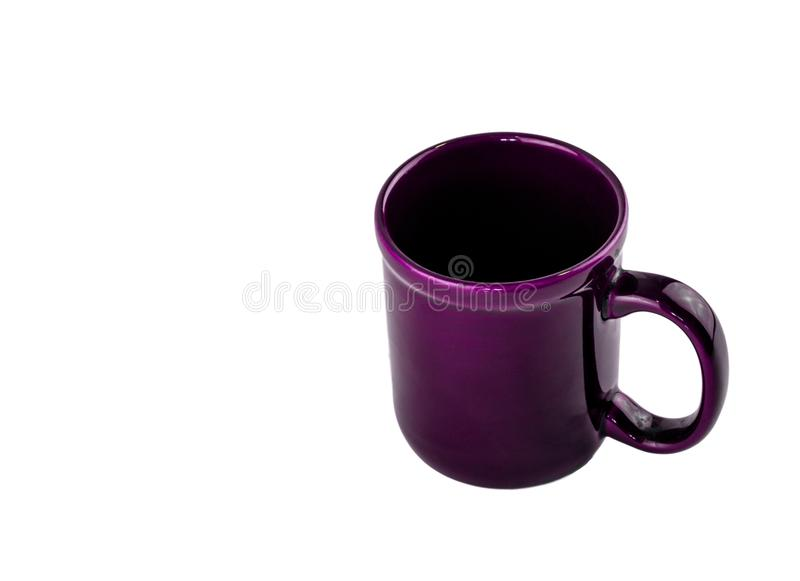 Purple empty coffee cup with a black inside. Purple ceramic empty coffee cup with a black inside on a white background stock image