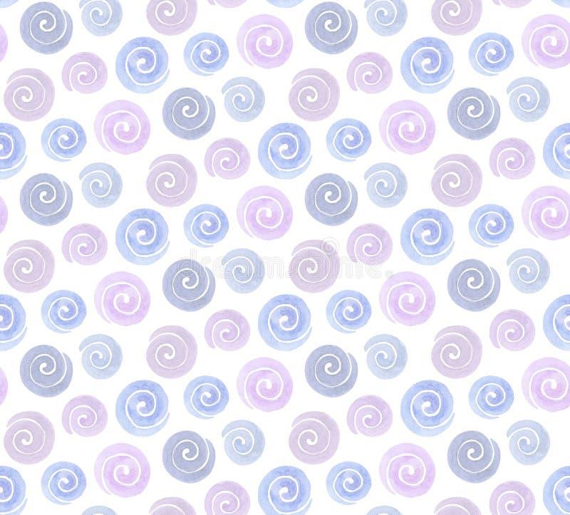 Purple en het blauw van het waterverf spiraalvormige patroon stock illustratie