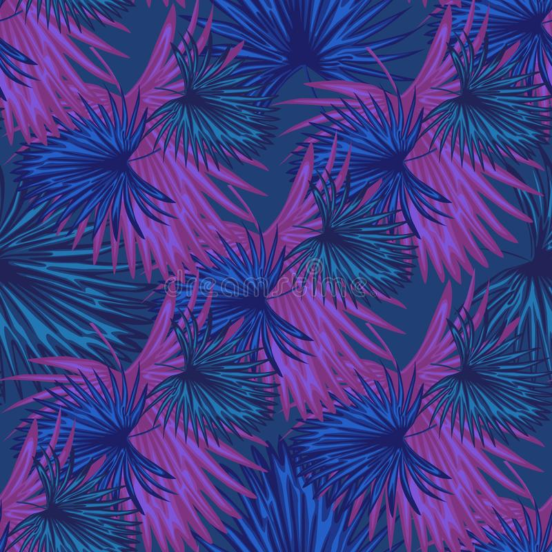 Purple exotic plant seamless pattern. Abstract botanical background royalty free illustration