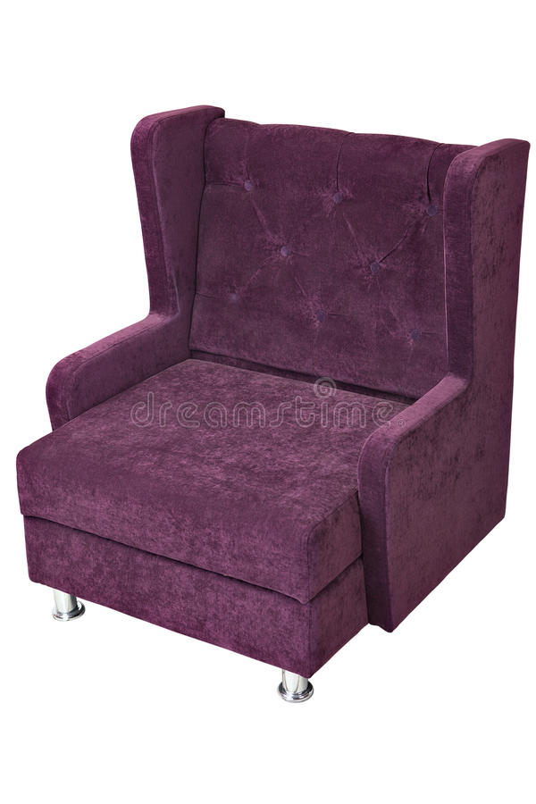 Purple fabric upholstered single seater armchair, isolated on white background. Single-seater sofa with purple fabric upholstered, isolated on white background royalty free stock photography