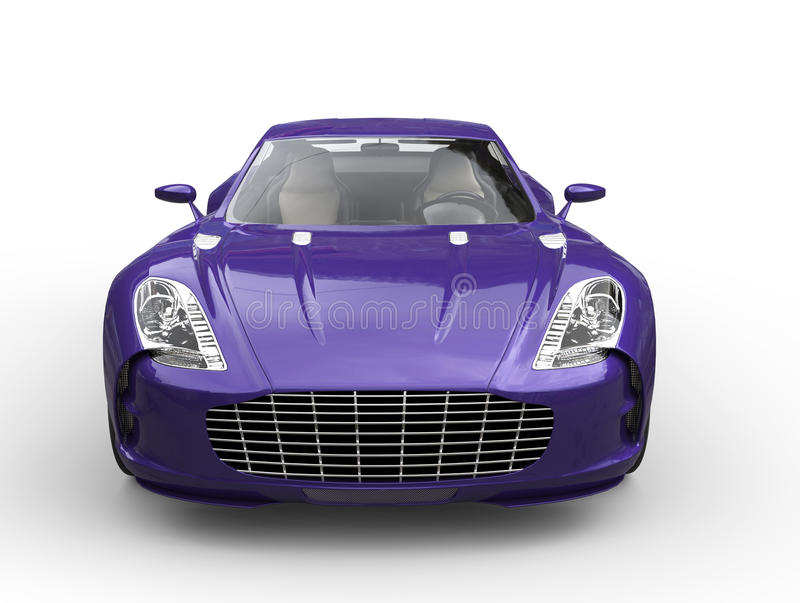 Purple fast sports car - front view. Isolated on white background stock image