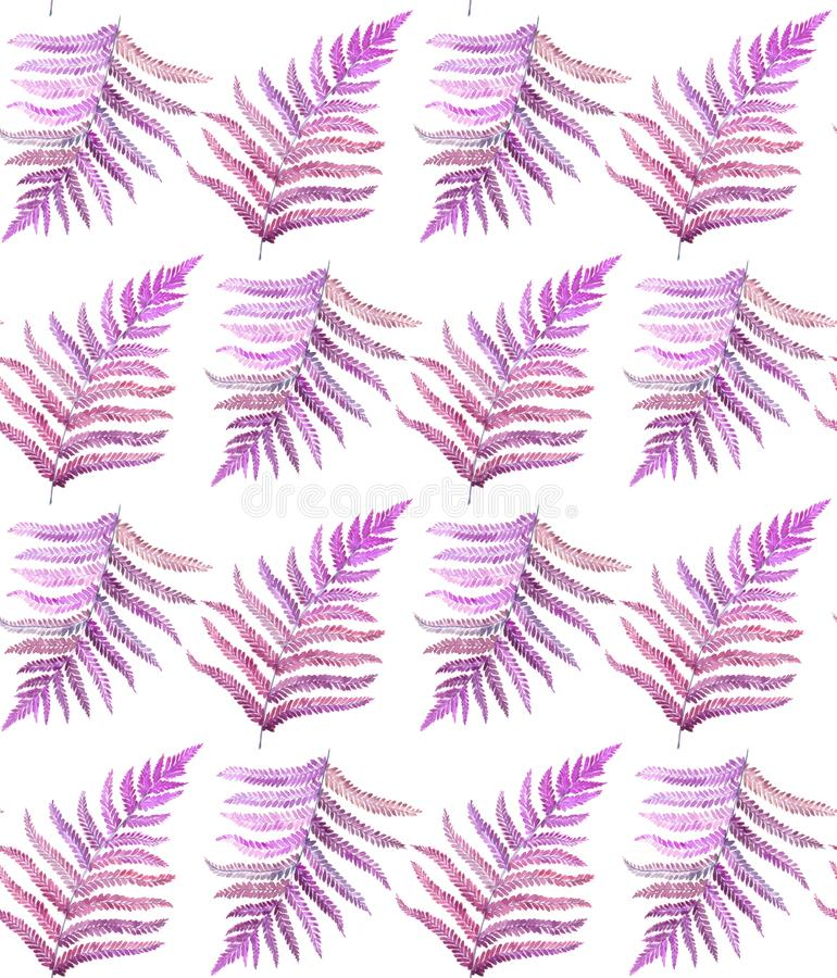 Purple fern leaves watercolor seamless pattern royalty free illustration