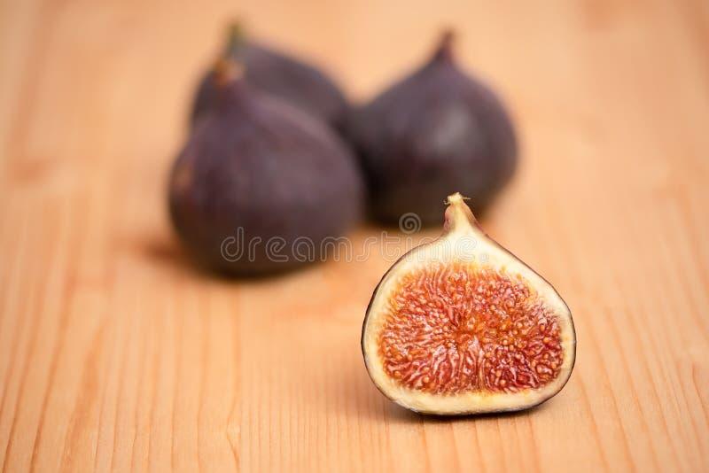 Purple figs full of vitamines. Purple riped figs full of vitamines stock photography