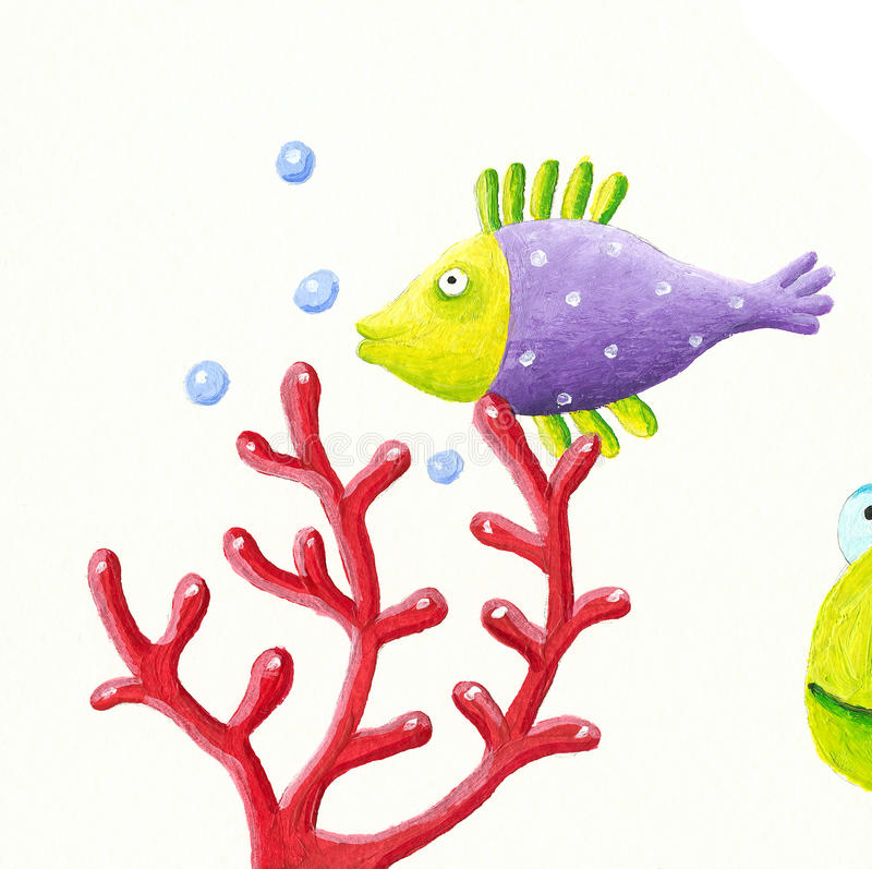 Purple fish and coral stock illustration