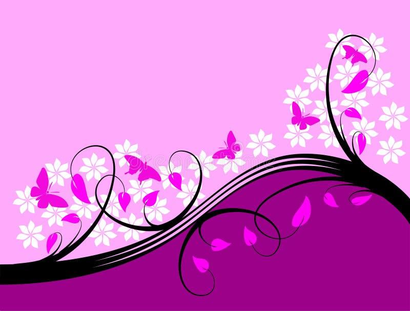 Purple Floral Background Design stock illustration