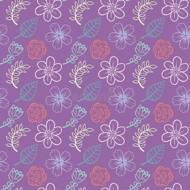 Purple background floral leaves fabric vector illustration - Fashion design collections royalty free illustration