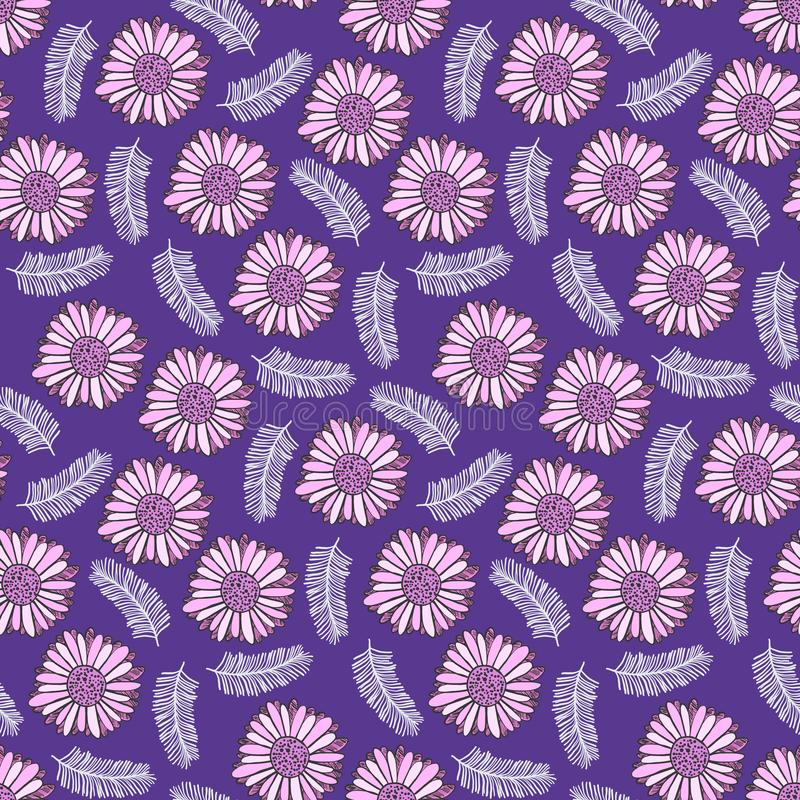 Purple floral pattern with tender pink flowers vector illustration