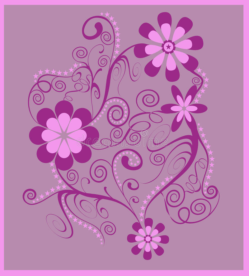 Purple floral spirals. Flowers with swirls and spirals in pink and purple on a lilac background; use for postcards, labels, invites, greeting cards and more vector illustration