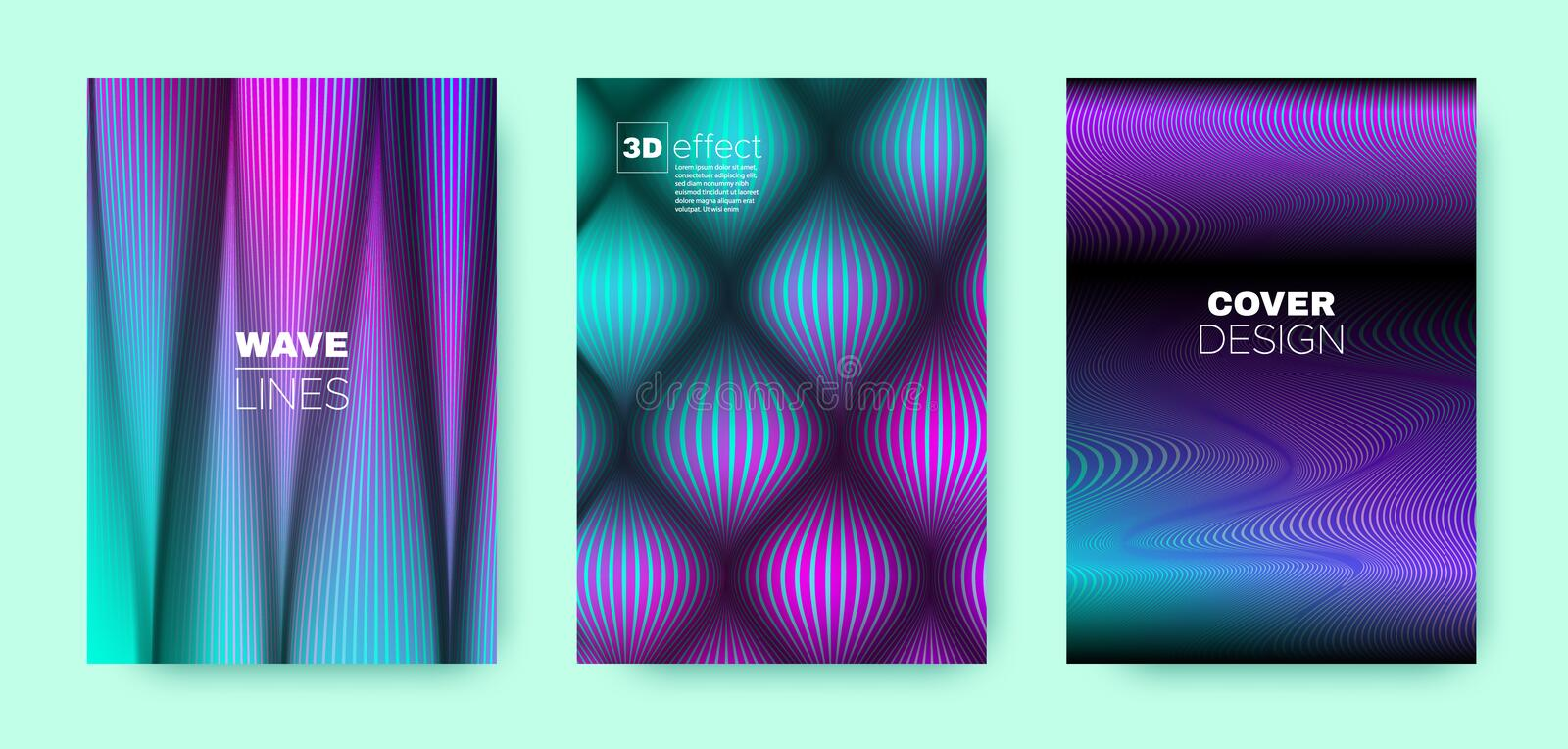 Purple Flow Template. Minimal Cover. Business. Brochure. 3d Geometric Linear Texture. Wave Template. Colorful Modern Cover. Dynamic Background. Flow Template stock illustration