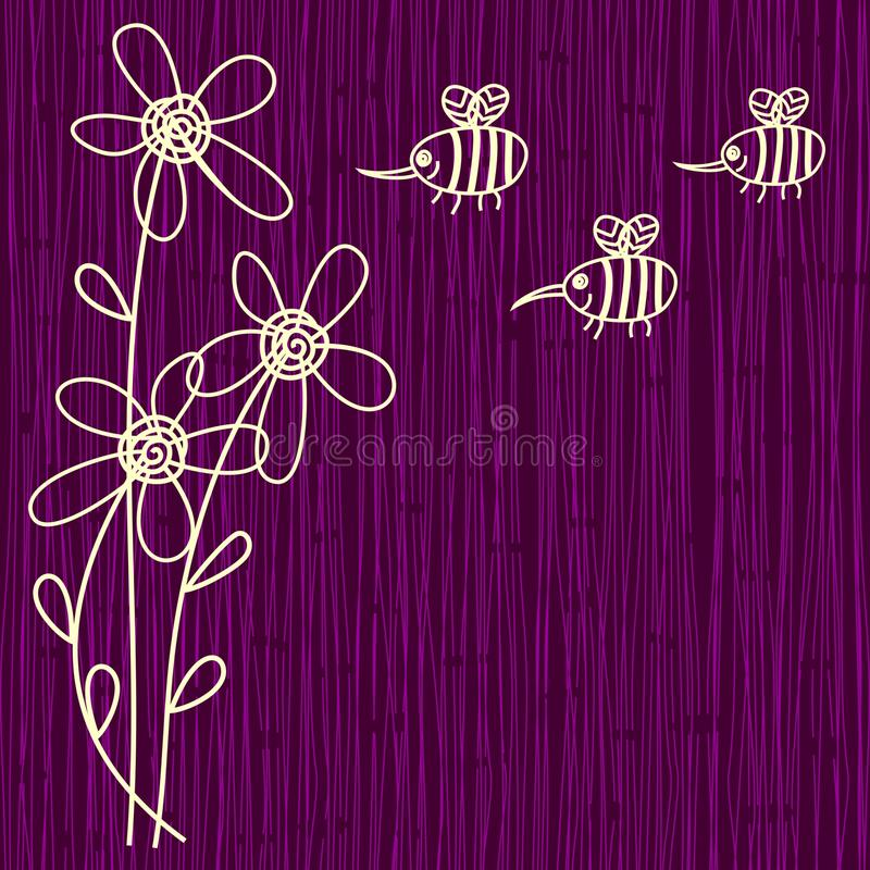 Download Purple Flower And Bee Background Stock Vector - Image: 22169140