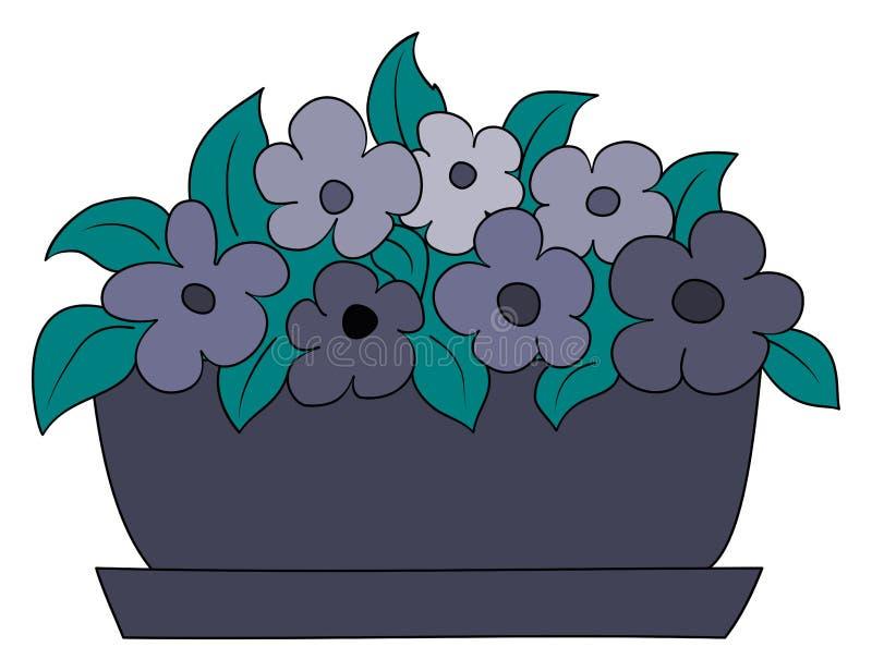 Purple flower in plant pot. Cartoon style. Vector illustration vector illustration