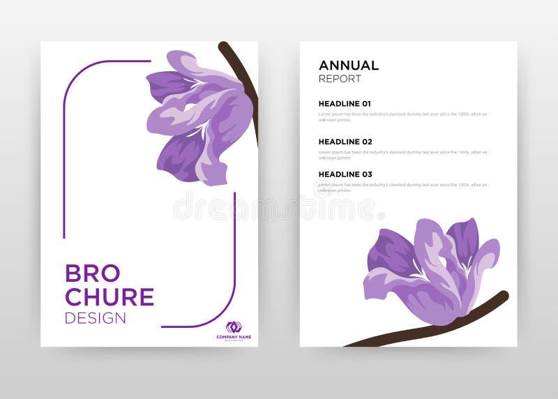 Purple flower on stroke frame design for annual report, brochure, flyer, poster. Flower petal on white background vector. Illustration for flyer, leaflet vector illustration