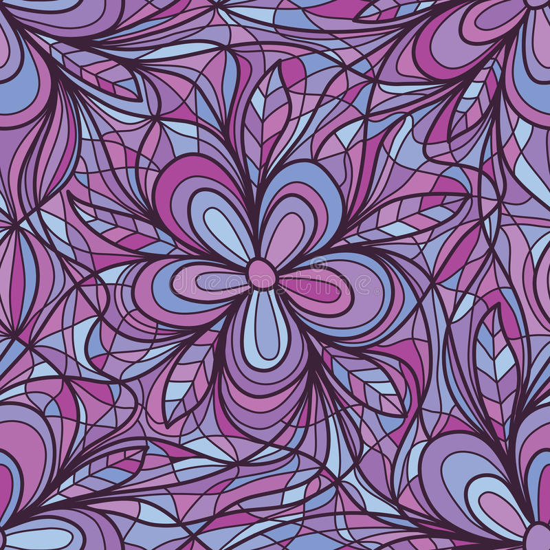 Free Purple Flower Swirl Connect Seamless Pattern Stock Image - 79578641