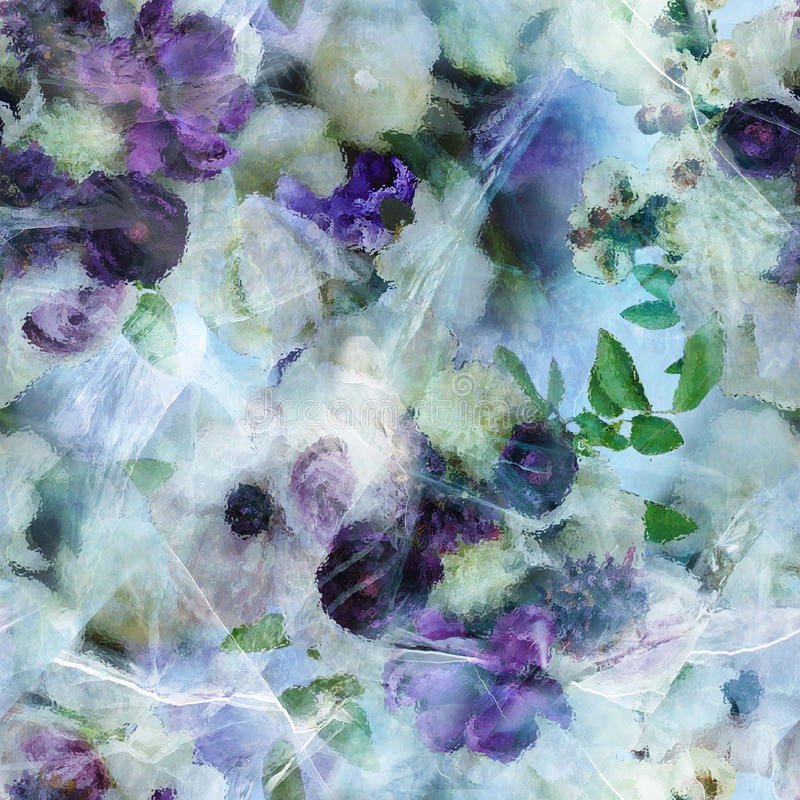Purple flowers in ice stock images