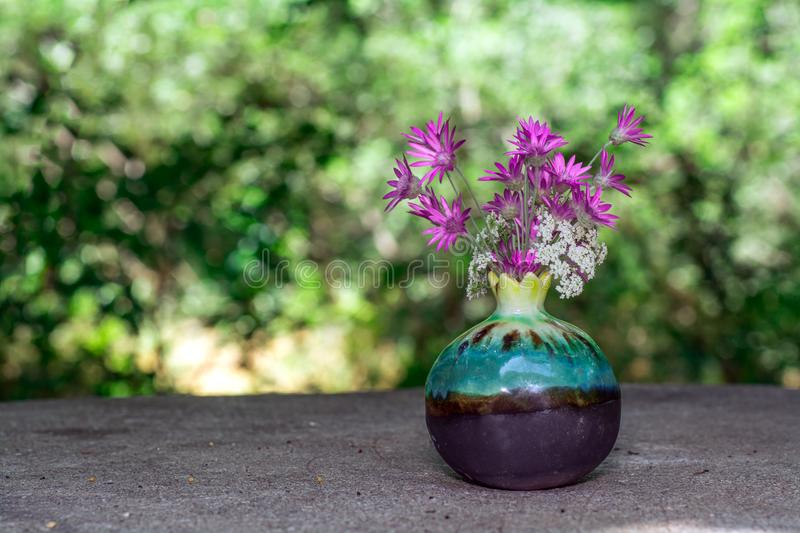 Purple flowers in the pot. On stone with nature background stock photography