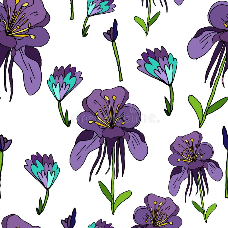 Purple flowers seamless pattern on a white background. Buds, delicate hand-drawn flower pattern. Abstract decorative print for. Fabric and other surfaces royalty free illustration