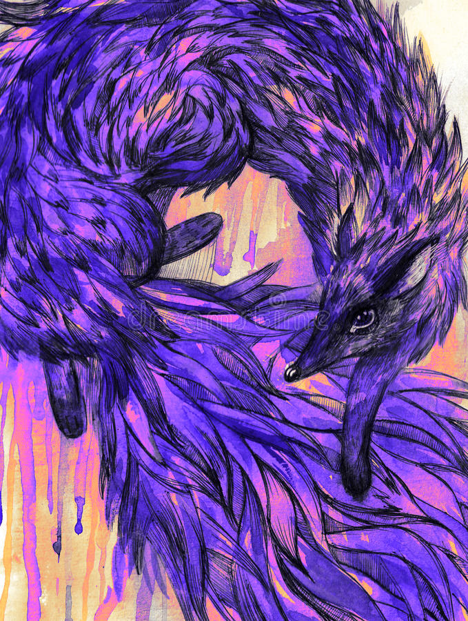 Purple fox on the grunge background. Watercolor. royalty free illustration
