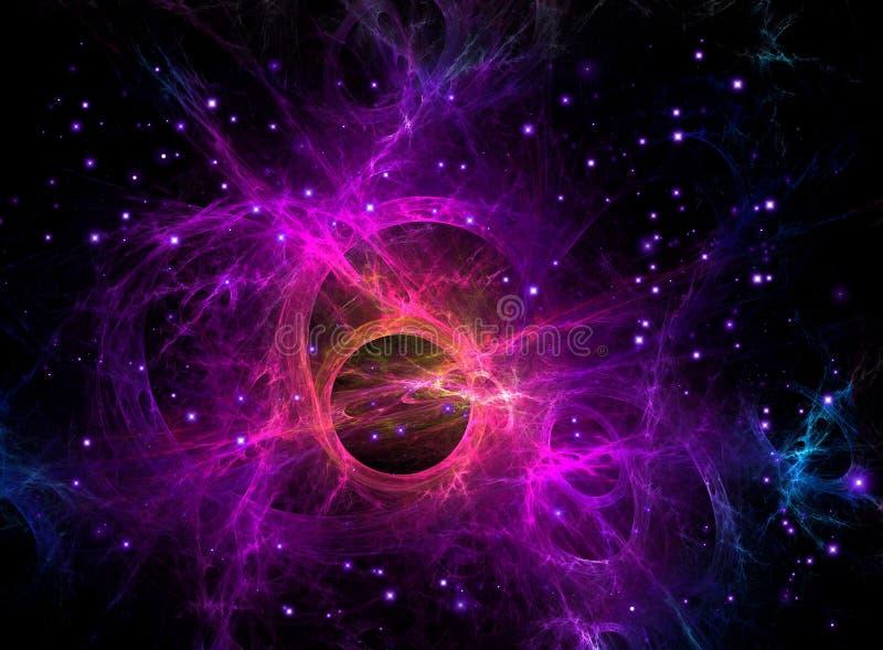 Purple fractal Galaxy in space, Sci-Fi. Purple fractal galaxy in space, and Universe. Sci-Fi type deep sky with stars glow stock illustration