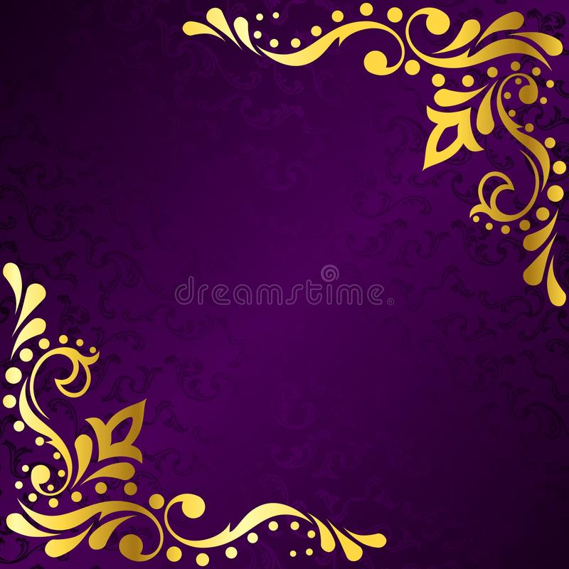 Purple frame with gold sari inspired filigree stock illustration