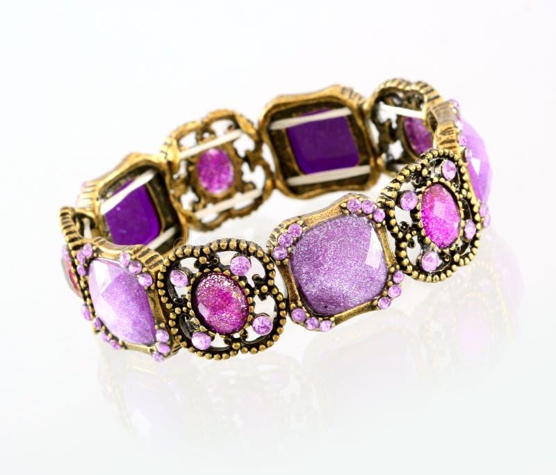 Purple gemstone bracelet royalty free stock photo