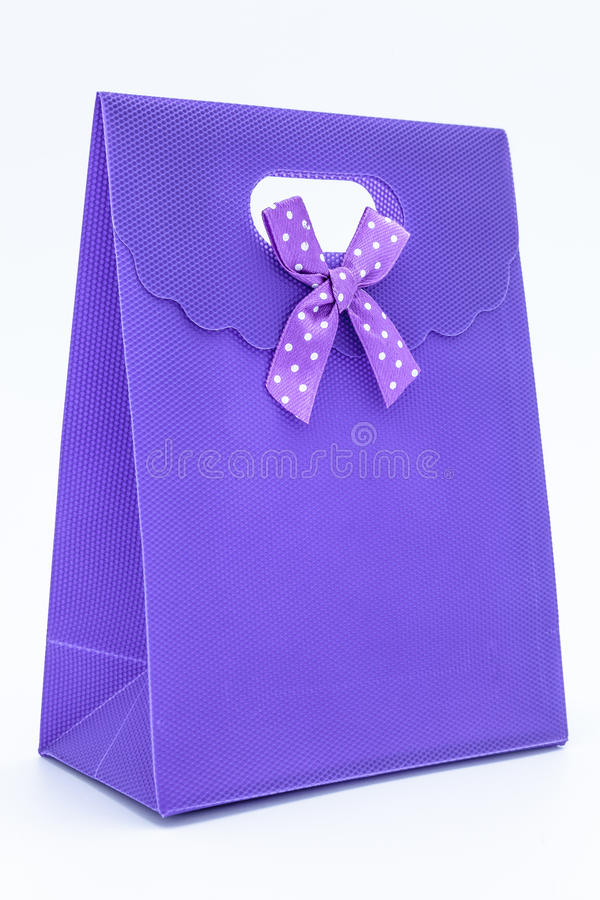Purple gift bag stock photos
