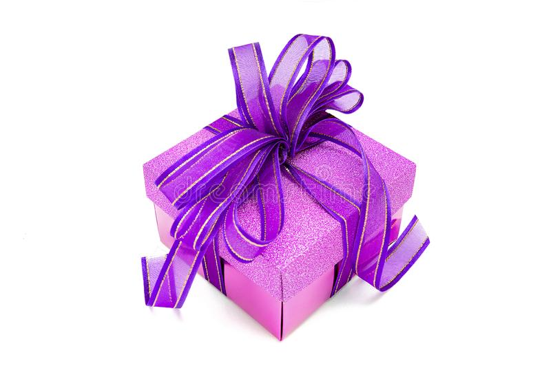 Purple gift box royalty free stock photography