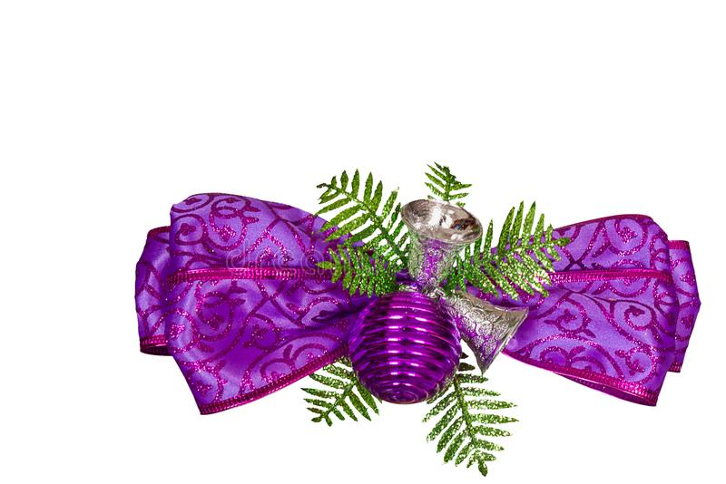 Purple gift ribbon bow. stock images