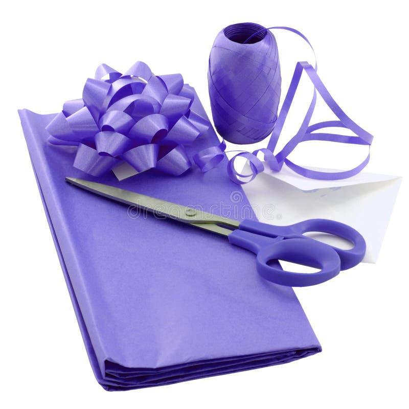 Purple gift wrap royalty free stock photos