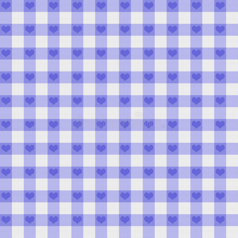 Purple Gingham Fabric with Hearts Background royalty free stock image